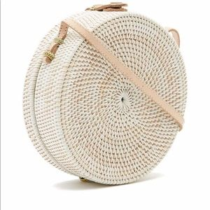 Pink Haley – Jones Vacay Round Straw Crossbody Bag